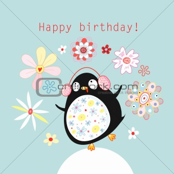 greeting card with a funny penguin