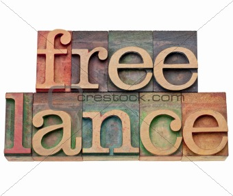 freelance word in letterpress type