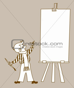 small artist on brown background, vector illustration