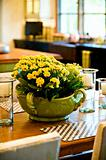 Fresh flower arrangement on the dining room table