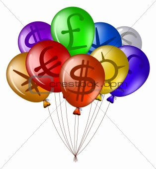 Balloons with currency signs