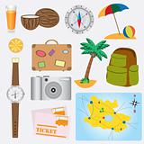 Objects about vacation theme.