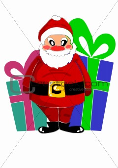 Happy santa claus and big gifts