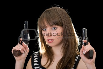 Attractive young woman with two pistol. Isolated