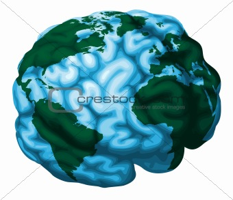 Brain world globe illustration