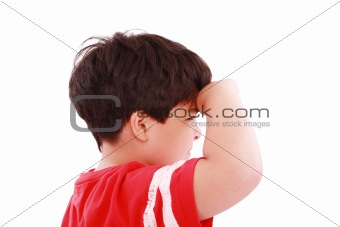 boy intently looking far away, isolated on white background