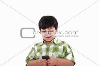 Boy text messaging isolated over white