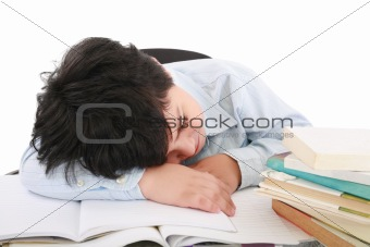 adorable boy tired to study a over white background