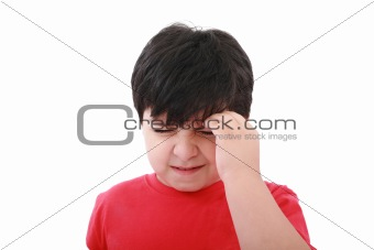 A boy with a headache; isolated on the white background