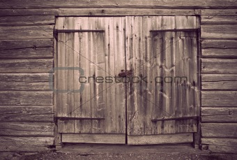 Old gray wooden door