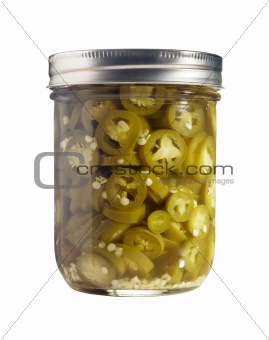 Sliced Jalapenos (Capsicum Annuum) in a Glass Jar Isolated on a White Background