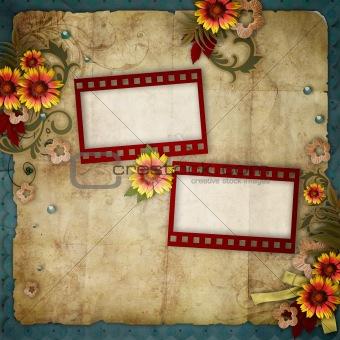 old frames on vintage background