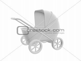 white baby carriage