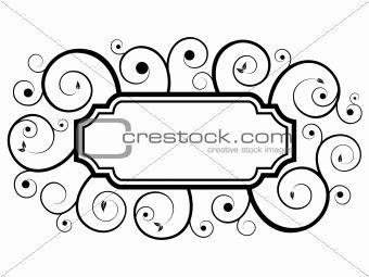 black floral swirl frame pattern
