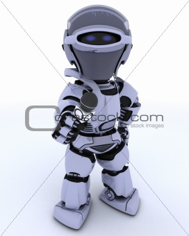 Robot with a reporters microphone