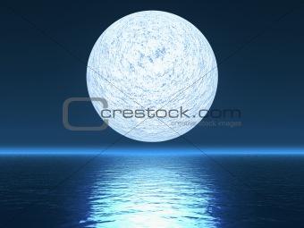 White planet over ocean