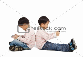 boys using touchscreen tablet PC  and isolated on white