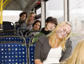 Sleeping on the bus