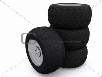 car wheels. 3d
