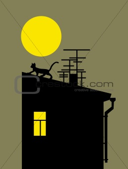cat silhouette on home roof, vector illustration
