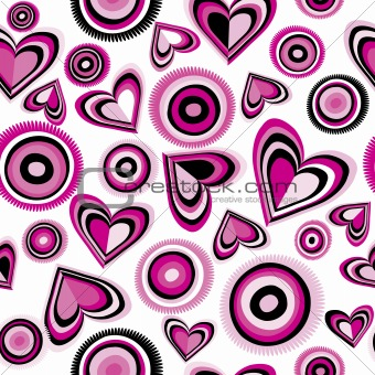 Background with pink hearts and circles