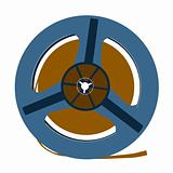 aging tape reel on white background, vector illustration