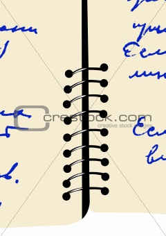 aging copy-book with text, vector illustration