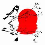 bird on branch silhouette on solar background, vector illustrati