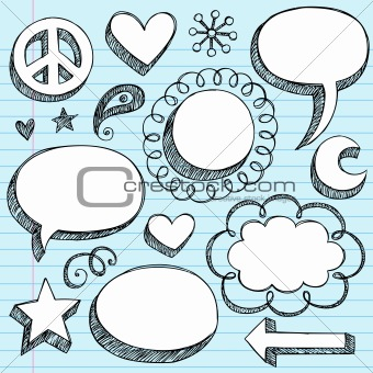 Speech Bubbles Sketchy Doodles Vector
