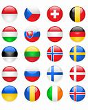 EuGlossy Europe flags buttons, part two