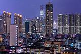 Hong Kong city downtown at night