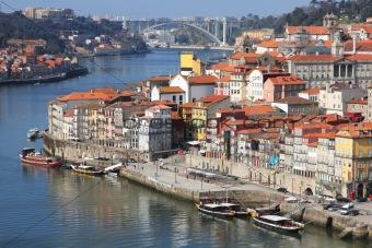 Portugal. Porto city. View of Douro river embankment