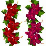 Samless borders made of hibiscus flowers