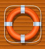 life buoy on wood background