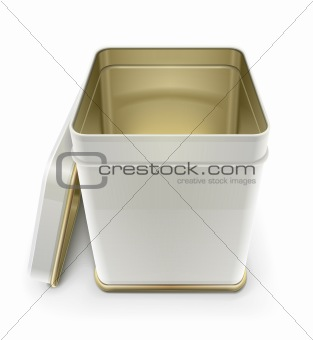 white tin box with lid