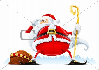 Santa Claus with sack and staff