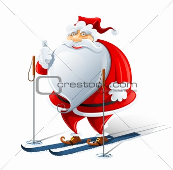 happy Santa Claus on ski