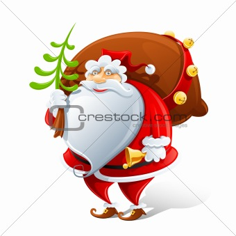 Santa Claus with sack and bell