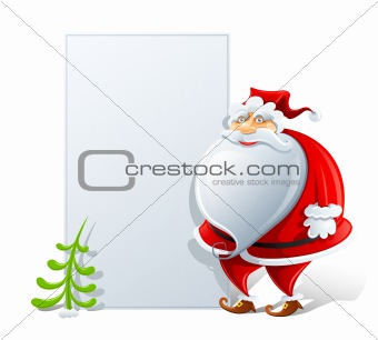 happy Santa Claus with paper