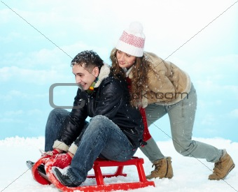 Riding on sledge