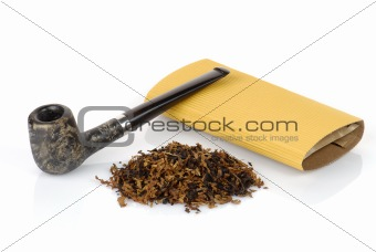 tobacco pipe with tobacco isolated on white background