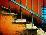 old stairway on vintage red