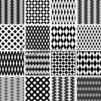 Geometric textures. Seamless patterns set.