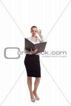 Sexy business woman stand with big ledger book