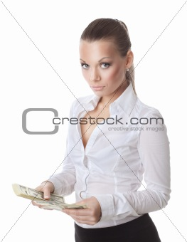 young sexy woman count a bundle of money