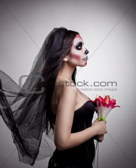 dead bride woman in skull face art mask