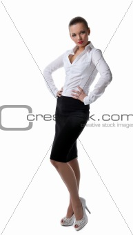 Sexy business woman stand portrait isolated
