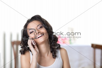 Happy woman call phone smile in white
