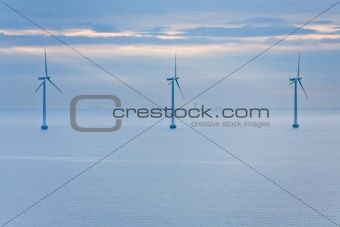 offshore wind farm  at early morning