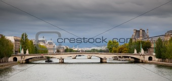 Panorama of Paris - view on Pont du Carrousel